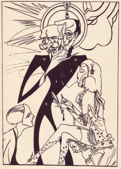 Illustration by British author, cartoonist, and illustrator Beresford Egan (1905-1984) for Charles Baudelaire's Fleurs Du Mal (1929). The drawing owes a little to the work of Aubrey Beardsley or even Harry Clarke.